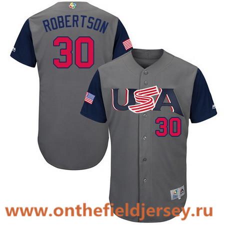 Men's Team USA Baseball Majestic #30 David Robertson Gray 2017 World Baseball Classic Stitched Authentic Jersey