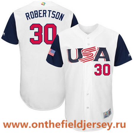 Men's Team USA Baseball Majestic #30 David Robertson White 2017 World Baseball Classic Stitched Authentic Jersey