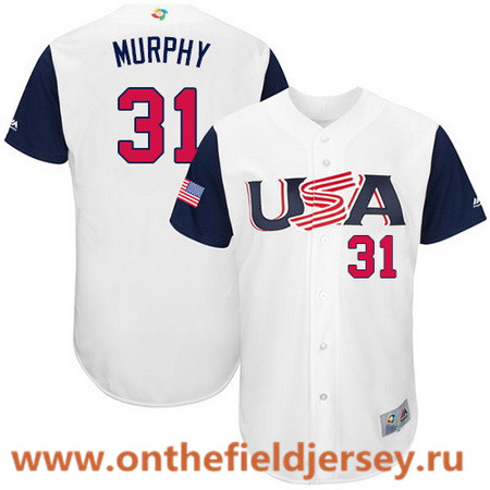 Men's Team USA Baseball Majestic #31 Daniel Murphy White 2017 World Baseball Classic Stitched Authentic Jersey