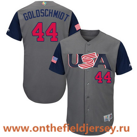 Men's Team USA Baseball Majestic #44 Paul Goldschmidt Gray 2017 World Baseball Classic Stitched Authentic Jersey