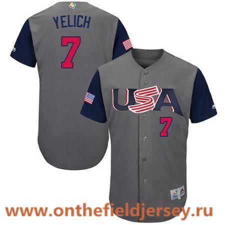 Men's Team USA Baseball Majestic #7 Christian Yelich Gray 2017 World Baseball Classic Stitched Authentic Jersey
