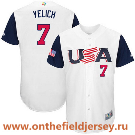 Men's Team USA Baseball Majestic #7 Christian Yelich White 2017 World Baseball Classic Stitched Authentic Jersey
