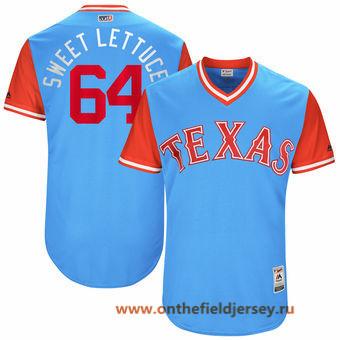 Men's Texas Rangers AJ Griffin -Sweet Lettuce- Majestic Light Blue 2017 Little League World Series Players Weekend Stitched Nickname Jersey