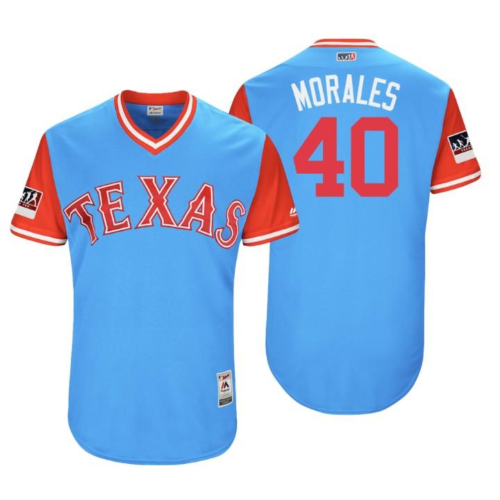 Men's Texas Rangers Authentic Bartolo Colon #40 Light Blue 2018 LLWS Players Weekend Morales Jersey