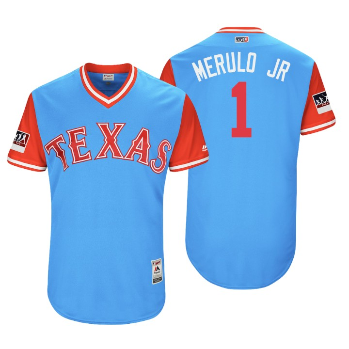 Men's Texas Rangers Authentic Elvis Andrus #1 Light Blue 2018 LLWS Players Weekend Merulo Jr Jersey