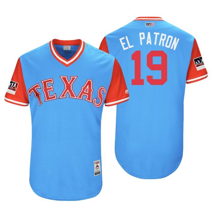Men's Texas Rangers Authentic Jurickson Profar #19 Light Blue 2018 LLWS Players Weekend El Patron Jersey