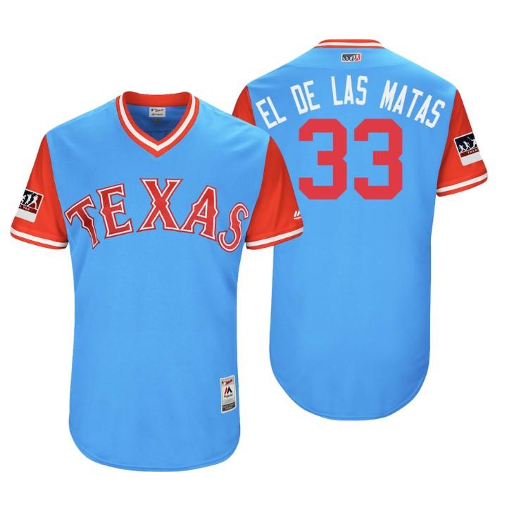 Men's Texas Rangers Authentic Martin Perez #33 Light Blue 2018 LLWS Players Weekend El De Las Matas Jersey