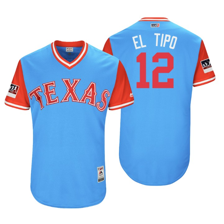 Men's Texas Rangers Authentic Rougned Odor #12 Light Blue 2018 LLWS Players Weekend El Tipo Jersey