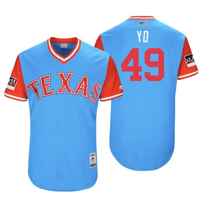 Men's Texas Rangers Authentic Yovani Gallardo #49 Light Blue 2018 LLWS Players Weekend YO Jersey