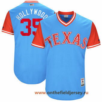 Men's Texas Rangers Cole Hamels -Hollywood- Majestic Light Blue 2017 Little League World Series Players Weekend Stitched Nickname Jersey
