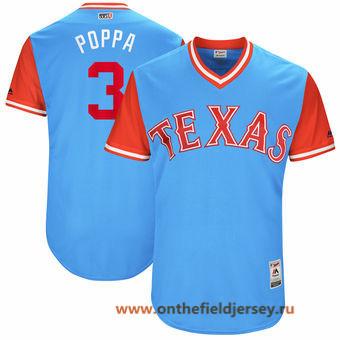 Men's Texas Rangers Delino DeShields -Poppa- Majestic Light Blue 2017 Little League World Series Players Weekend Stitched Nickname Jersey