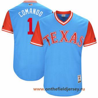 Men's Texas Rangers Elvis Andrus -Comando- Majestic Light Blue 2017 Little League World Series Players Weekend Stitched Nickname Jersey