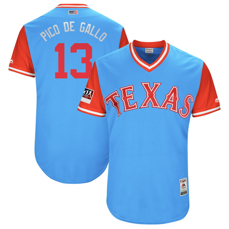 Men's Texas Rangers Joey Gallo Pico de Gallo Majestic Light Blue-Red 2018 Players' Weekend Authentic Jersey