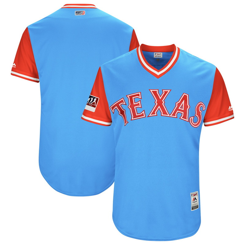 Men's Texas Rangers Majestic Light Blue-Red 2018 Players' Weekend Authentic Team Jersey