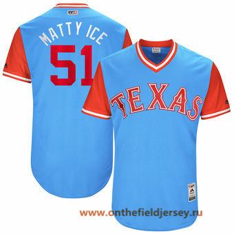 Men's Texas Rangers Matt Bush -Matty Ice- Majestic Light Blue 2017 Little League World Series Players Weekend Stitched Nickname Jersey