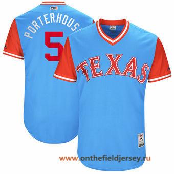 Men's Texas Rangers Mike Napoli -Porterhouse- Majestic Light Blue 2017 Little League World Series Players Weekend Stitched Nickname Jersey