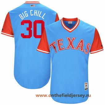 Men's Texas Rangers Nomar Mazara -Big Chill- Majestic Light Blue 2017 Little League World Series Players Weekend Stitched Nickname Jersey