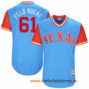 Men's Texas Rangers Robinson Chirinos -Pelo Buche- Majestic Light Blue 2017 Little League World Series Players Weekend Stitched Nickname Jersey