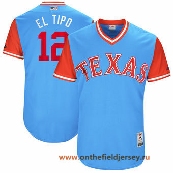 Men's Texas Rangers Rougned Odor -El Tipo- Majestic Light Blue 2017 Little League World Series Players Weekend Stitched Nickname Jersey