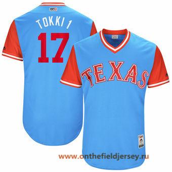 Men's Texas Rangers Shin-Soo Choo -Tokki 1- Majestic Light Blue 2017 Little League World Series Players Weekend Stitched Nickname Jersey