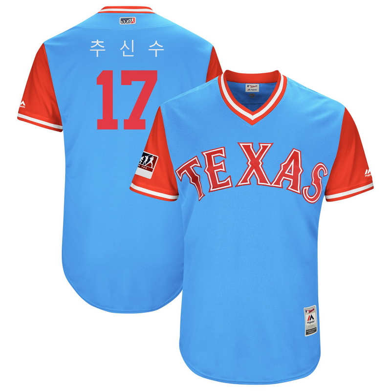 Men's Texas Rangers Shin Soo Choo Majestic Light Blue-Red 2018 Players' Weekend Authentic Jersey