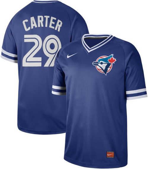 Men's Toronto  Blue Jays #29 Joe Carter Royal Authentic Cooperstown Collection Stitched Baseball Jersey