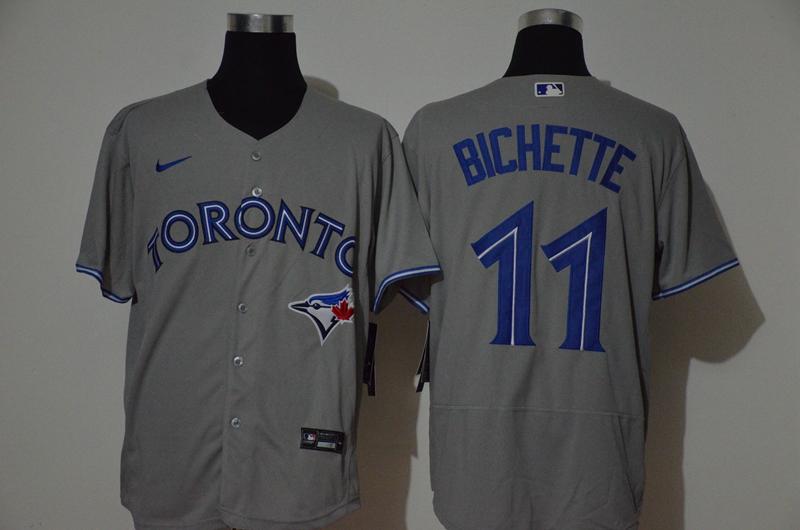 Men's Toronto Blue Jays #11 Bo Bichette Grey Stitched MLB Flex Base Nike Jersey