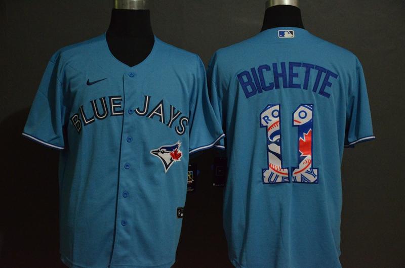 Men's Toronto Blue Jays #11 Bo Bichette Light Blue Team Logo Stitched MLB Cool Base Nike Jersey