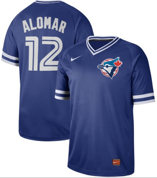 Men's Toronto Blue Jays #12 Roberto Alomar Royal Authentic Cooperstown Collection Stitched Baseball Jersey