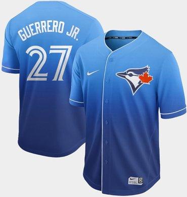 Men's Toronto Blue Jays #27 Vladimir Guerrero Jr. Royal Fade Authentic Stitched Baseball Jersey