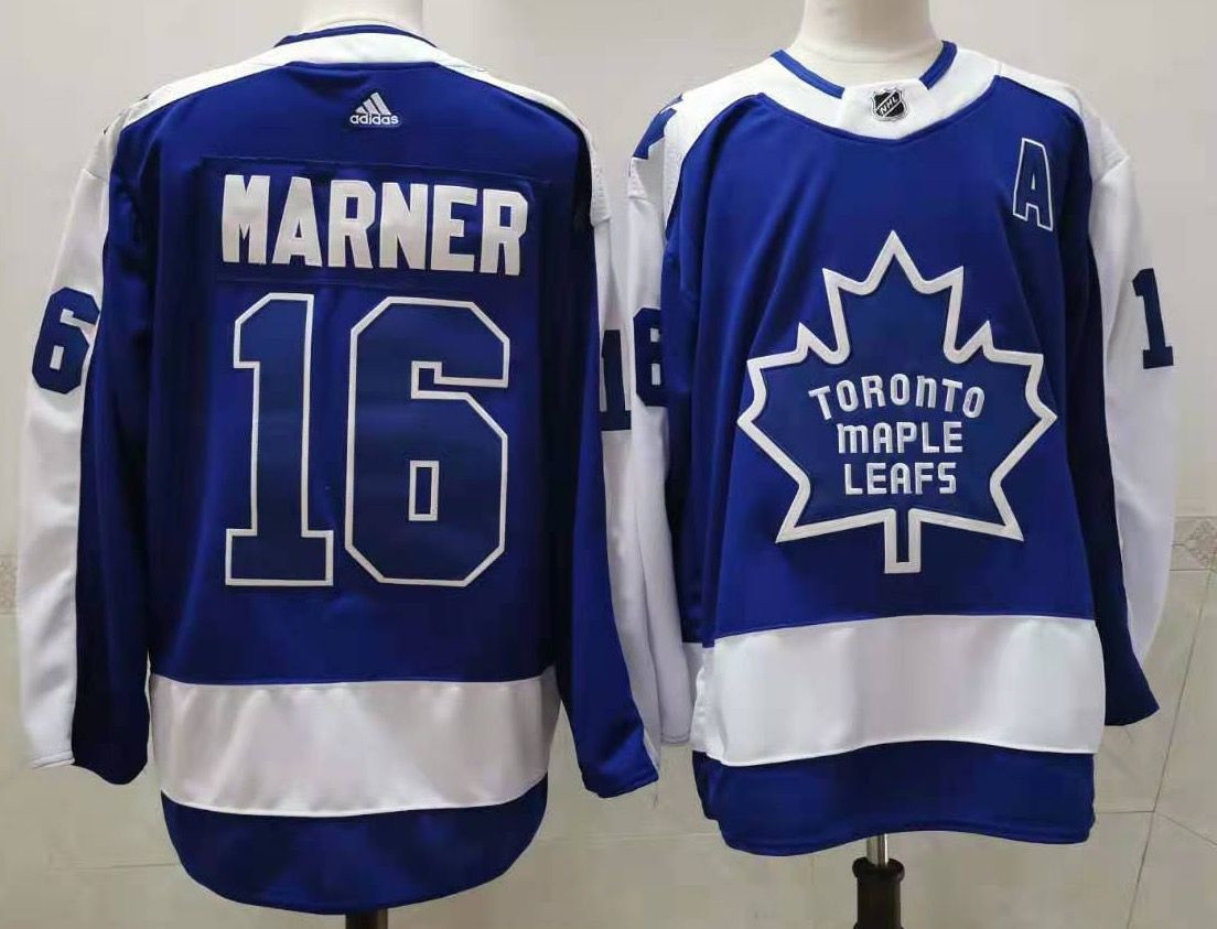 Men's Toronto Maple Leafs #16 Mitchell Marner Royal Blue With A Patch 2021 Reverse Retro Alternate Adidas Stitched NHL Jersey