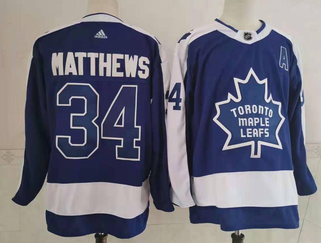 Men's Toronto Maple Leafs #34 Auston Matthews Royal Blue With A Patch 2021 Reverse Retro Alternate Adidas Stitched NHL Jersey