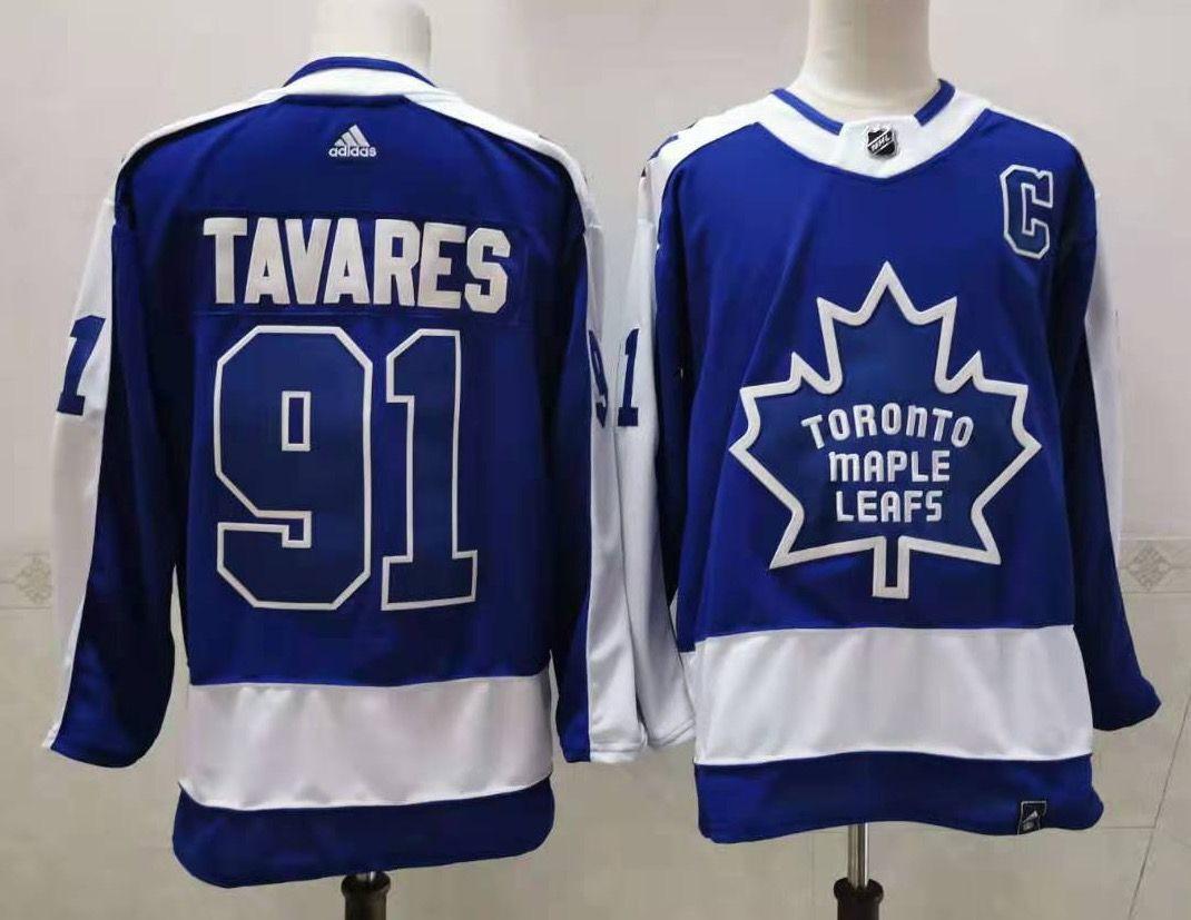 Men's Toronto Maple Leafs #91 John Tavares Royal Blue With A Patch 2021 Reverse Retro Alternate Adidas Stitched NHL Jersey