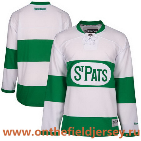 Men's Toronto Maple Leafs Custom Reebok White 2017 St. Patrick's Day Green Hockey Jersey