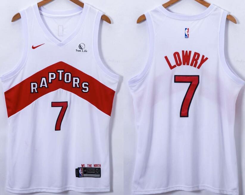 Men's Toronto Raptors #7 Kyle Lowry 2021 White with Red Nike Swingman Basketball Jersey