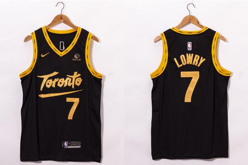 Men's Toronto Raptors #7 Kyle Lowry Black 2021 Nike City Edition Swingman Jersey With The Sponsor Logo