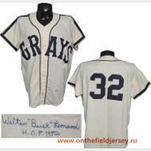 Men's The Movie USA Negro Leagues NLBM Homestead Grays #32 Buck Leonard Cream Stitched Baseball Jersey