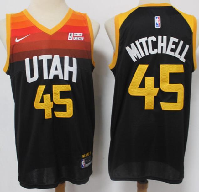 Men's Utah Jazz #45 Donovan Mitchell Black 2021 City Edition Nike Swingman Stitched NBA Jersey