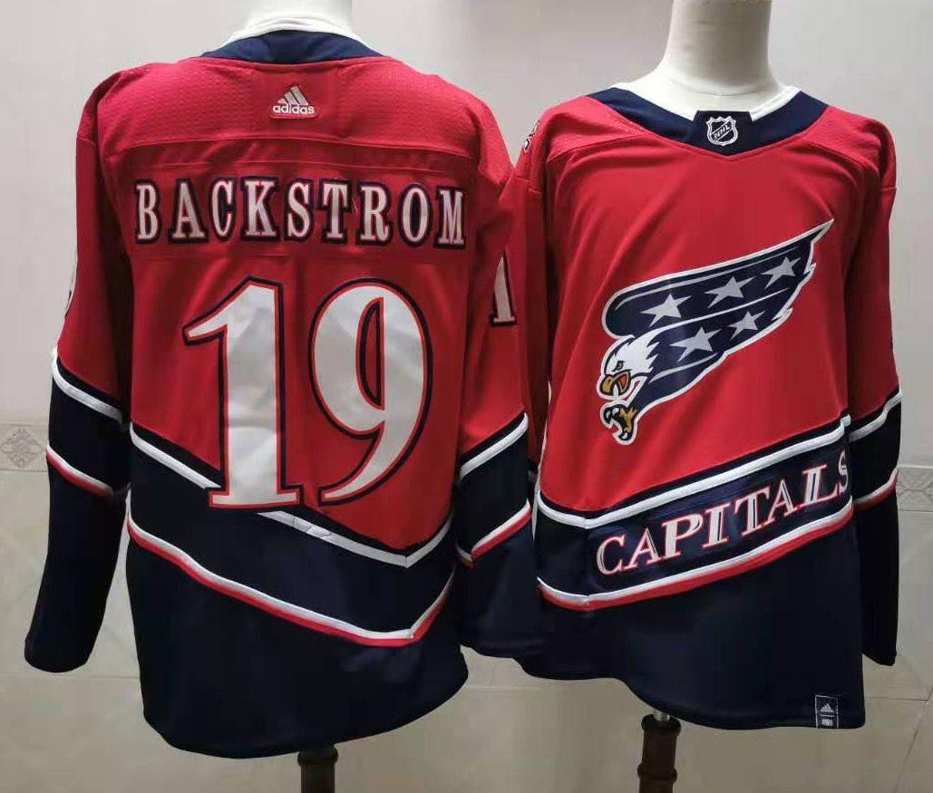 Men's Washington Capitals #19 Nicklas Backstrom Red 2021 Reverse Retro Alternate Adidas Stitched NHL Jersey