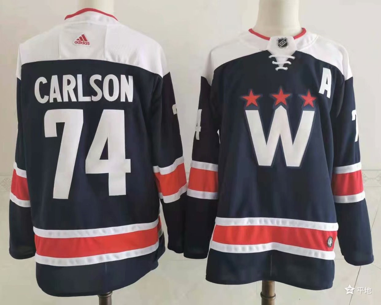 Men's Washington Capitals #74 John Carlson 2020-21 Navy Blue Alternate Adidas Stitched NHL Jersey