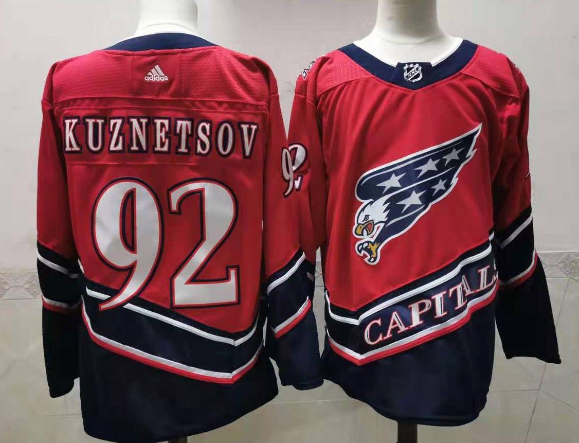 Men's Washington Capitals #92 Evgeny Kuznetsov Red 2021 Reverse Retro Alternate Adidas Stitched NHL Jersey