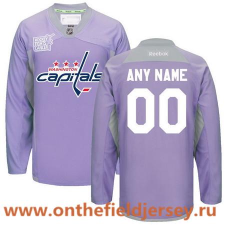 Men's Washington Capitals Purple Pink Custom Reebok Hockey Fights Cancer Practice Jersey
