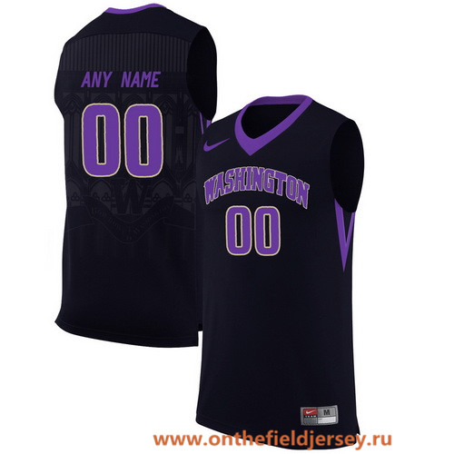 Men's Washington Huskies Custom Nike College Basketball Jersey - Black