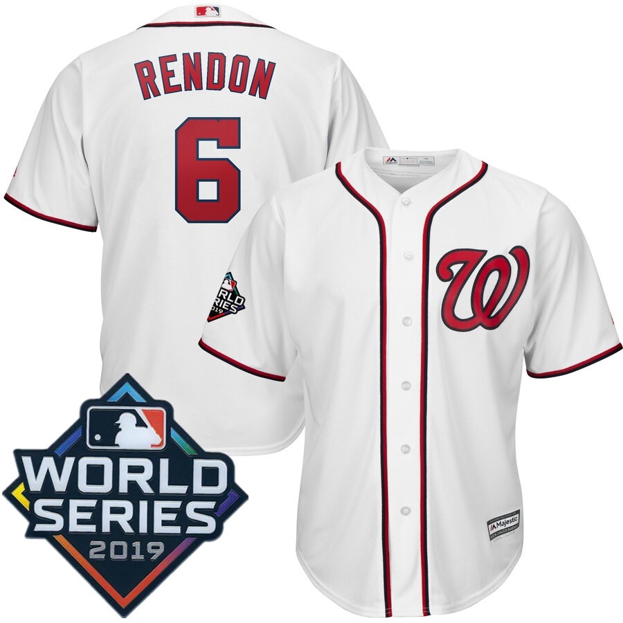Men's Washington Nationals Anthony Rendon Majestic White 2019 World Series Bound Official Cool Base Player Jersey