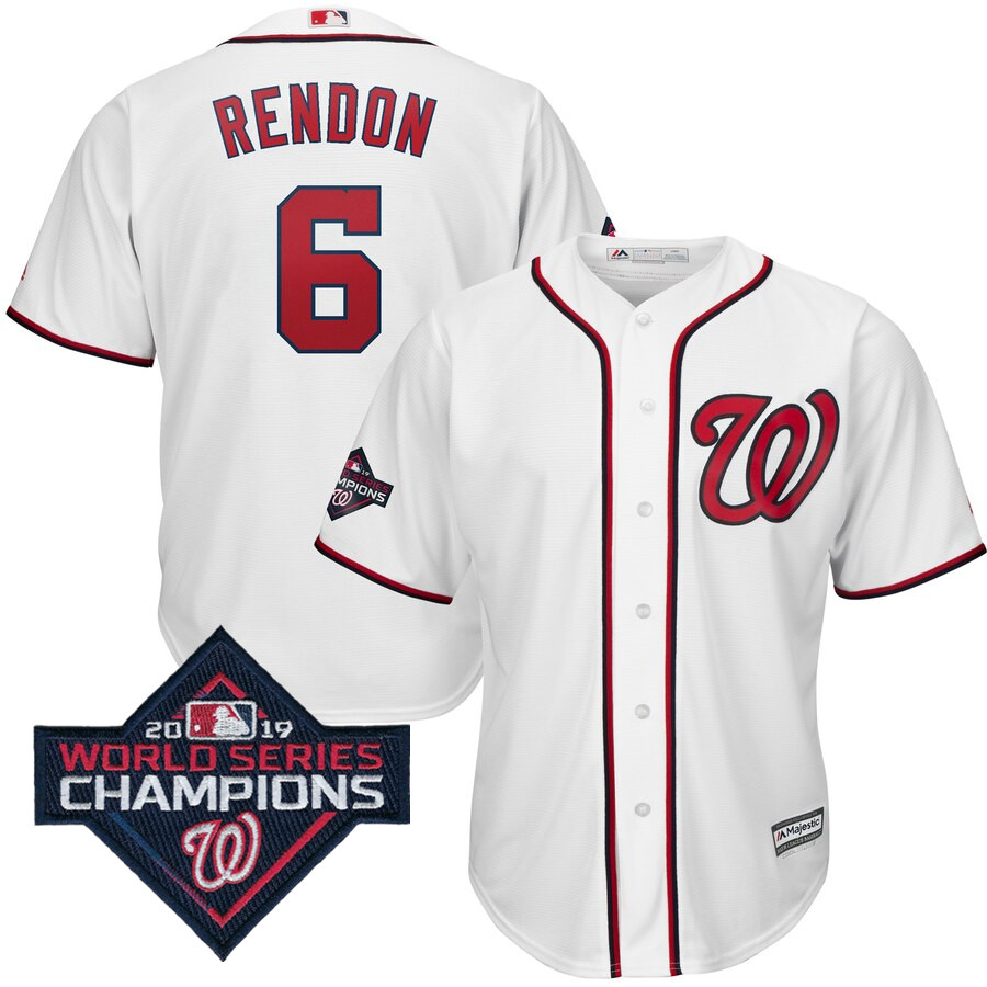 Men's Washington Nationals Anthony Rendon Majestic White 2019 World Series Champions Home Cool Base Patch Player Jersey