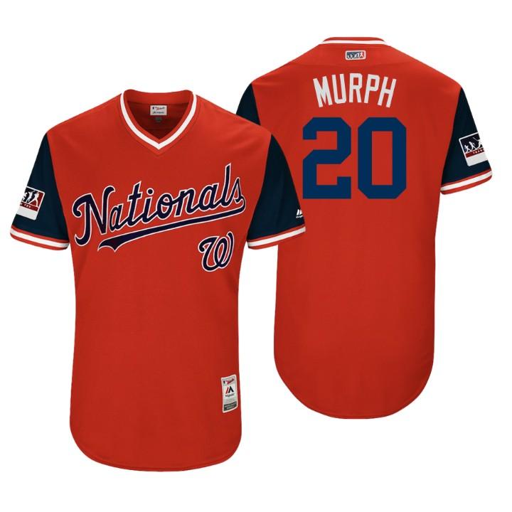 Men's Washington Nationals Authentic Daniel Murphy #20 Red 2018 LLWS Players Weekend Murph Jersey
