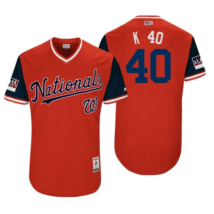 Men's Washington Nationals Authentic Kelvin Herrera #40 Red 2018 LLWS Players Weekend K 40 Jersey