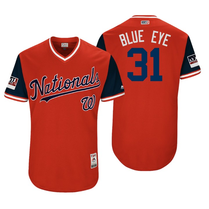 Men's Washington Nationals Authentic Max Scherzer #31 Red 2018 LLWS Players Weekend Blue Eye Jersey