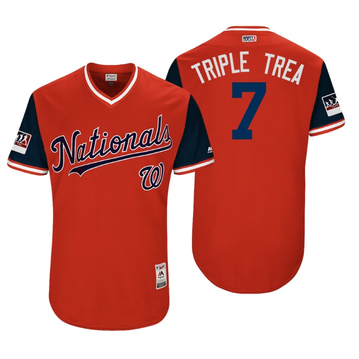 Men's Washington Nationals Authentic Trea Turner #7 Red 2018 LLWS Players Weekend Triple Trea Jersey
