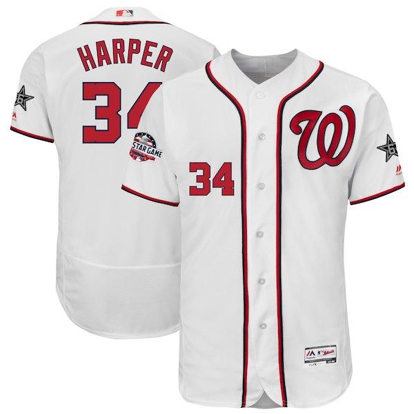 Men's Washington Nationals Bryce Harper Majestic White 2018 MLB All-Star Game Authentic Flex Base Player Jersey